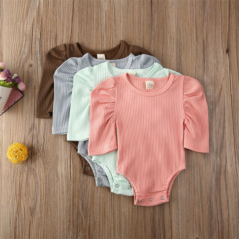 Pudcoco Newborn Baby Girl Clothes Infant Knitted Soild Bodysuit 1/2 Puff Sleeve Jumpsuit Shirt Tops Kids Outfits