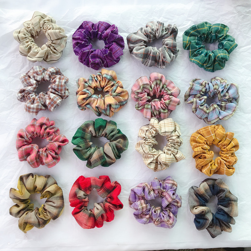 Free Shipping College Style Basic Color Plaid Women Hair Scrunchies Girl's Hairbands Hair Accessories Ponytail Holder