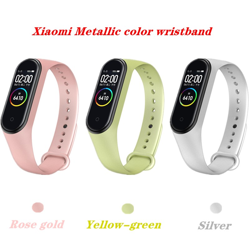 Silicone Bracelet For Xiaomi Mi Band 3 4 Metal Color Sport Replacement Strap Smart Watch Accessories For Xiaomi Mi Band 4 3 Belt