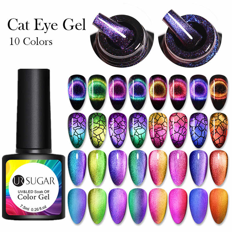 UR Gula 7.5Ml 9D Chameleon Cat Eye Nail Gel Magnetic Rendam Off UV Gel Cat Kuku Romantis Bersinar Gel lak Black Base Perlu