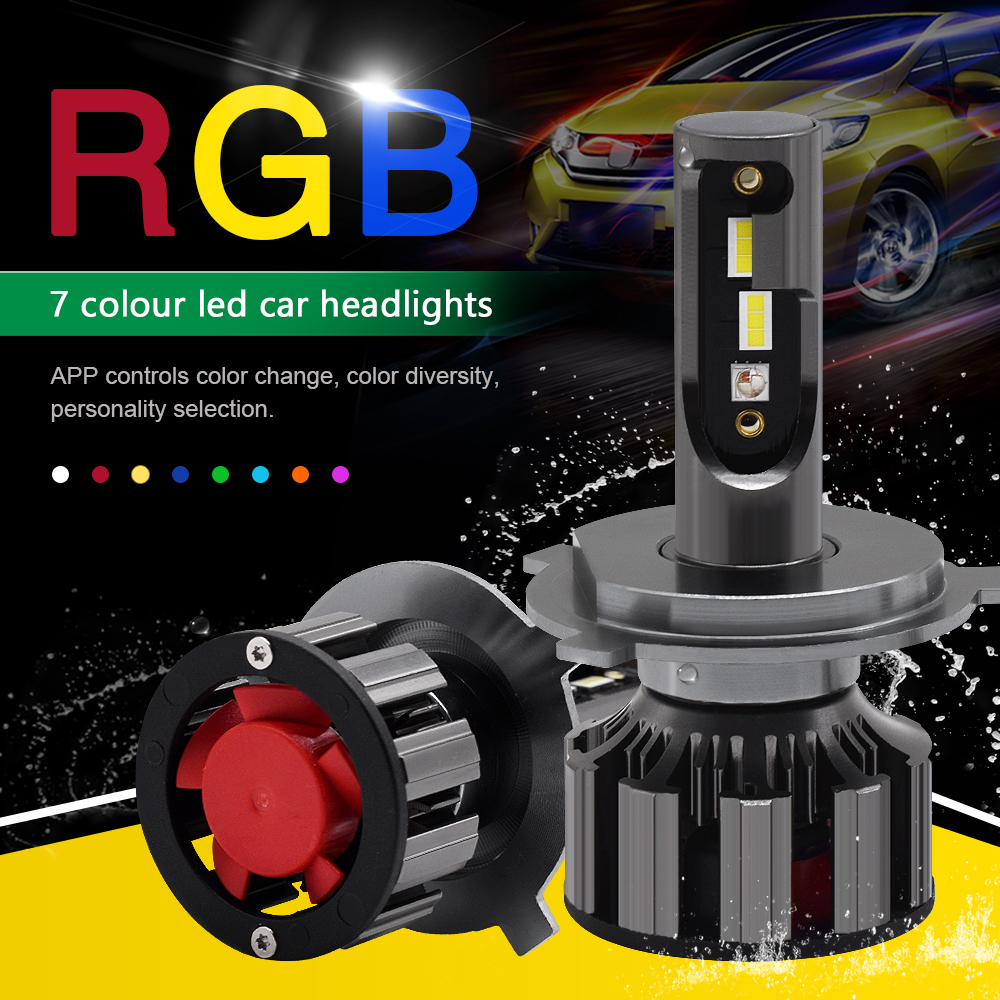 APP Bluetooth Control RGB Car LED Headlight Changeable Color Light H1 H3 H8 H9 H11 9005 9006  Auto Head Lamp H4 Led H7 Bulbs NEW