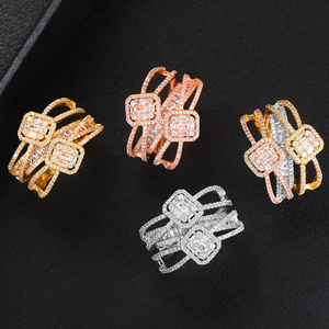 Image 4 - GODKI Baguette Cut Ring Engagement Handmade Rainbow CUBIC ZIRCONIA Stone Rings For Women Fashion Finger Accessories Wedding Band
