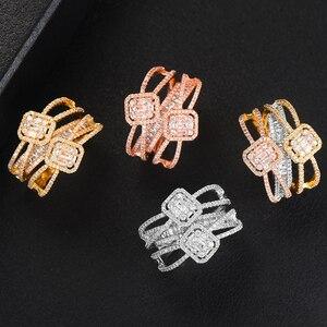 Image 4 - GODKI Baguette ตัดแหวน Handmade Rainbow CUBIC Zirconia แหวนแฟชั่น Finger อุปกรณ์เสริมงานแต่งงาน
