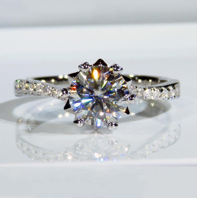 Романтическое кольцо из белого золота 9 к в форме цветка Moissanite ювелирное изделие 1ct 2ct 3ct юбилейное Помолвочное кольцо
