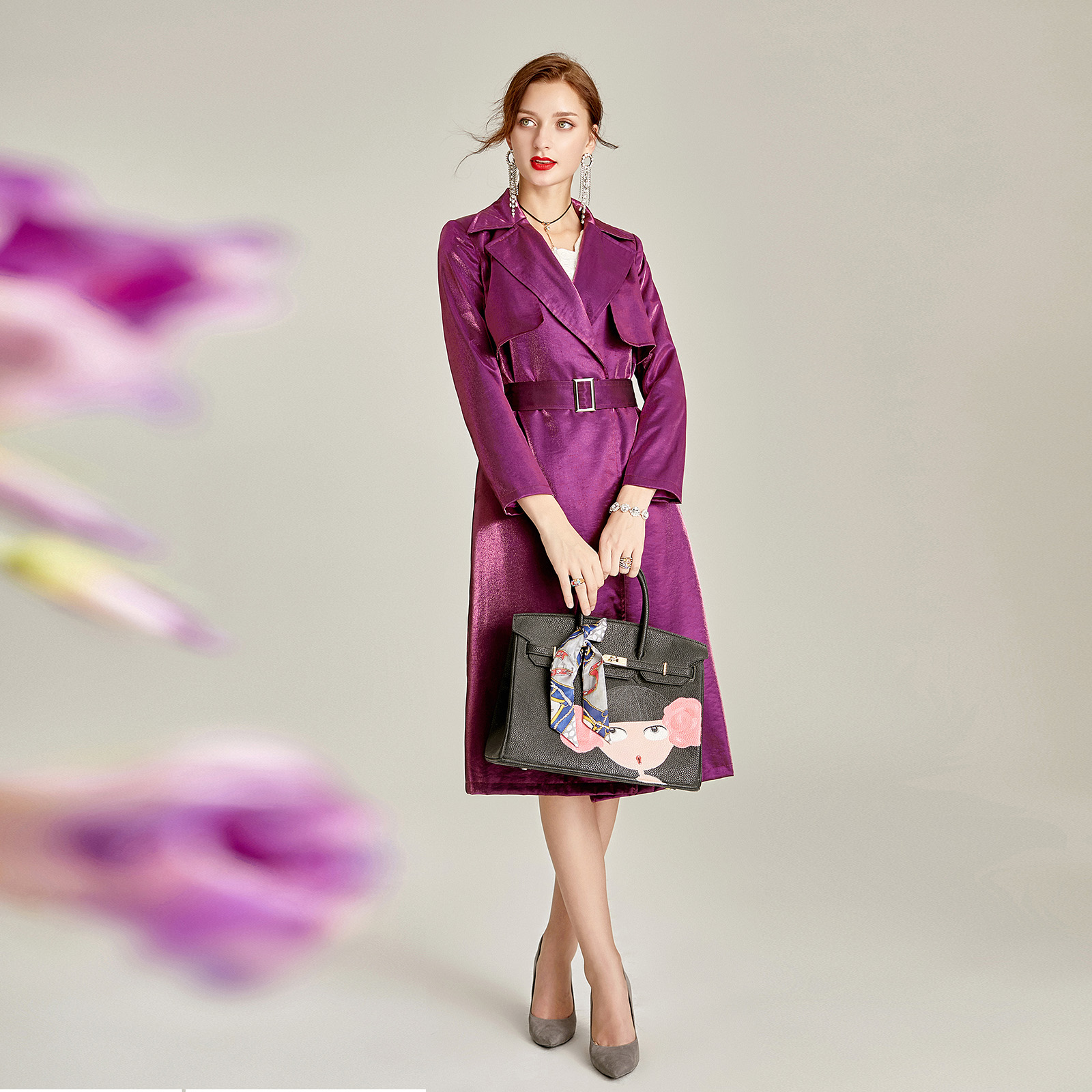 2019 весенне осенний Женский Тренч с отложным воротником и поясом, однотонный Фиолетовый Модный темпераментный длинный Тренч h154