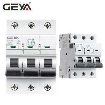 GEYA GYM9 3P 6KA Mini disyuntor na szynę Din przerywacz 6A 10A 16A 20A 25A 32A 40A 50A 63A AC typu MCB 400V