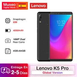 Globalna wersja Lenovo K5 Pro Snapdragon 636 Octa Core 4GB 64GB Smartphone Quad aparaty 5.99 calowy ekran 4050 mAh 4G telefony
