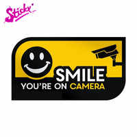 Pegatina adhesiva de seguridad para coche, pegatina de decoración para parabrisas trasero, motocicleta, portátil, todoterreno, CCTV, Smile You are on Cámara, señales de advertencia