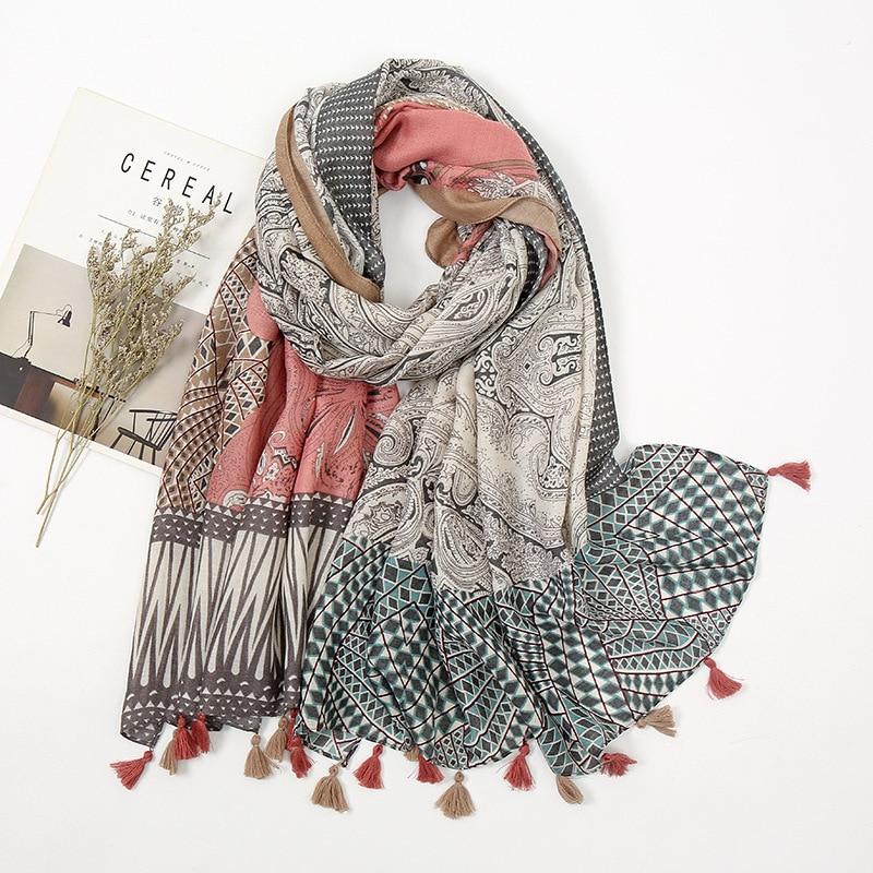Женская мода узором в стиле «Ацтек», «турецкие огурцы» с цветочным принтом и кисточками шаль из вискозы шарф леди высокое качество Пашмина, ...