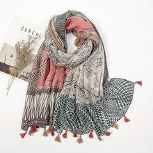 Kobiety moda Aztec nerkowca kwiatowy z frędzlami wiskoza szalik pani wysokiej jakości Wrap Pashmina Stole Bufanda muzułmański hidżab 180*90Cm