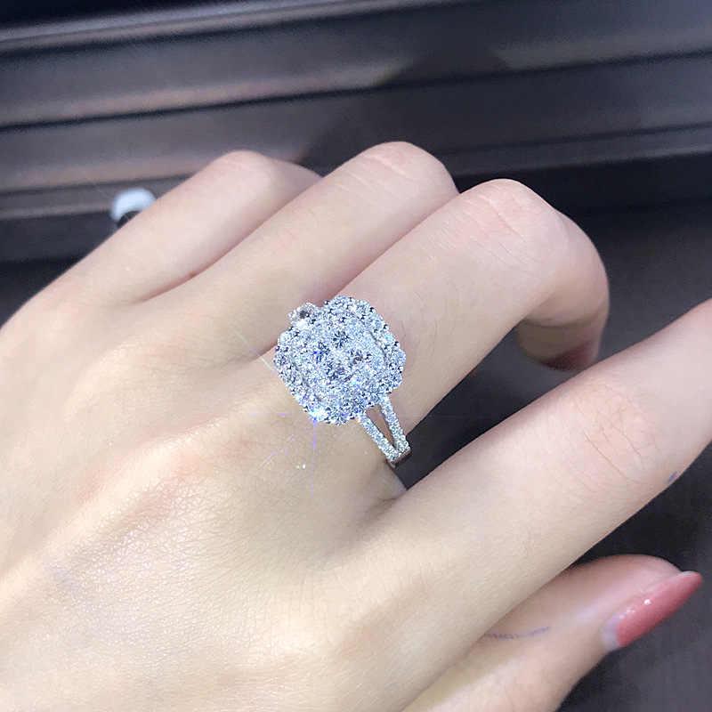 Luxus Sparkly Big Stein Zirkon Silber Ring Für Frauen Engagement Hochzeit Glänzenden Ring Partei Schmuck Mode Weibliche 2019