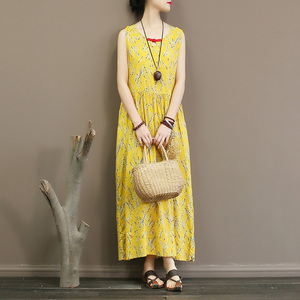 Sleeveless dress summer thin floral slub cotton temperament waist length and ankle vest skirt dress inside(China)