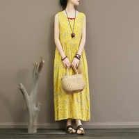 Vestido sem mangas verão fino floral slub algodão comprimento da cintura e tornozelo saia colete vestido temperamento dentro