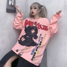 NiceMix Harajuku Tshirt Streetwear Anime t-shirt Vrouwtjes Cool Cartoon Print Hip Hop Streetwear Grappige Print Casual Roze Oversized(China)