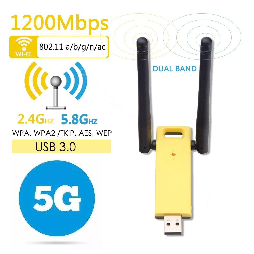 Mini USB 3.0 Dual-band 1200Mbps Wireless WiFi Network Adapter 2.4G/5GHz Antenna USB Ethernet Lan Wifi Dongle AC Wifi Receiver
