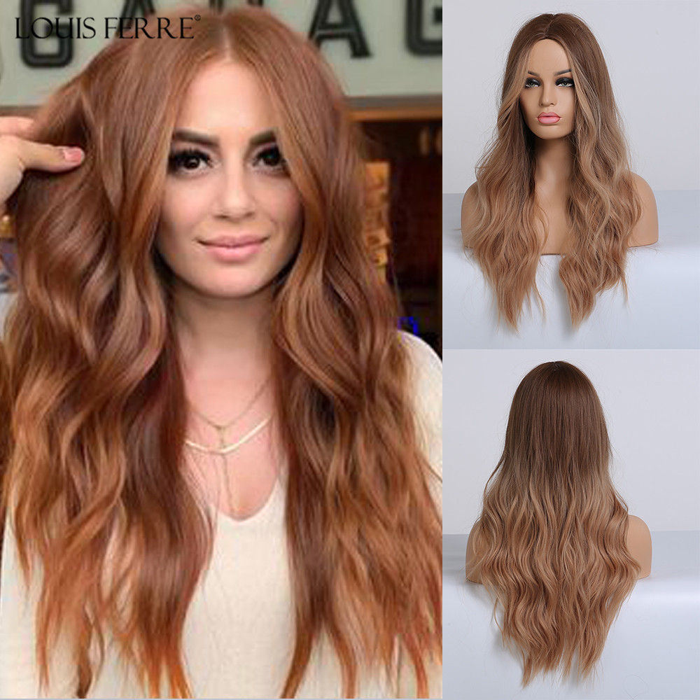 LOUIS FERRE Long Wavy Ombre Brown Red Wig Synthetic Wigs For African American Women Highlight Natural Middle Part Wigs Cosplay