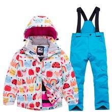 Детский лыжный костюм для девочек, куртка для сноуборда, штаны, зимняя одежда, брюки, ветронепроницаемые, водонепроницаемые, уличная спортивная одежда для катания на лыжах