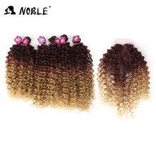 Noble Afro Kinky Krullend Haar Weave 16 20 Inch 7 Stuks/partij Synthetisch Haar Bundels Met Sluiting Midden Deel Kant voorsluiting