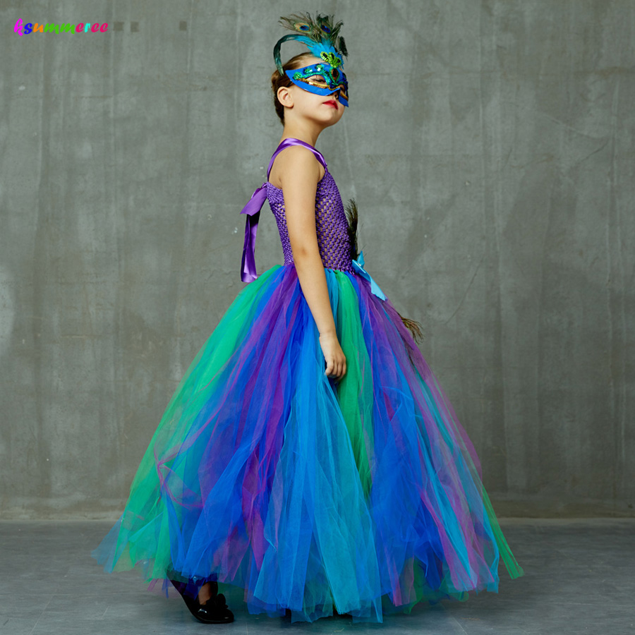 Flower Princess Peacock Costume for Girls Wedding Birthday Party Tutu Dress Kids Pageant Ball Gown Feathers Girl Tulle Dresses 4