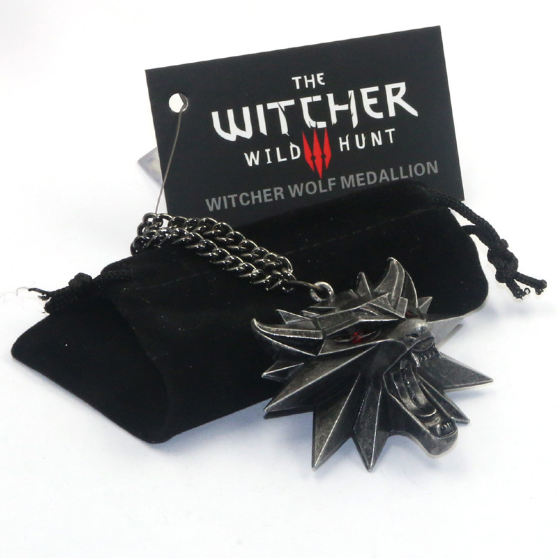 Wolf Head Witcher necklace for men with card wild hunter sculptural gothic necklace punk cosplay 2020
