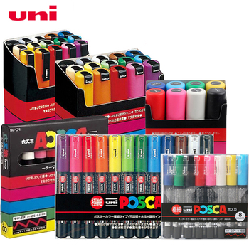 UNI POSCA Marker Pen Set POP Poster Advertising Graffiti PC-1M PC-3M PC-5M PC-8K PC-17K Round Head Oily Paint - discount item  5% OFF Pens, Pencils & Writing Supplies