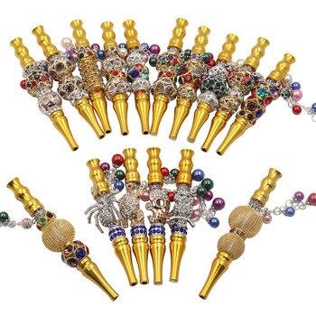 5 unids/lote, boquilla de fumar dorada, soporte para cigarrillos, Hookah Shisha, boquillas, accesorios para pipa de humo, cuentas de Metal y aluminio para animales