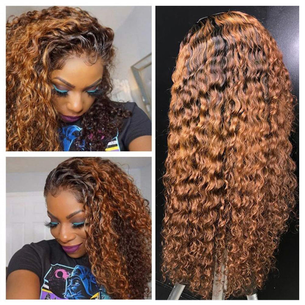 Ombre Blonde Kinky Curly Soft Hair Full Lace Wigs Human Hair Wig With Baby Hair Bleached Knots Glueless Wig For Women