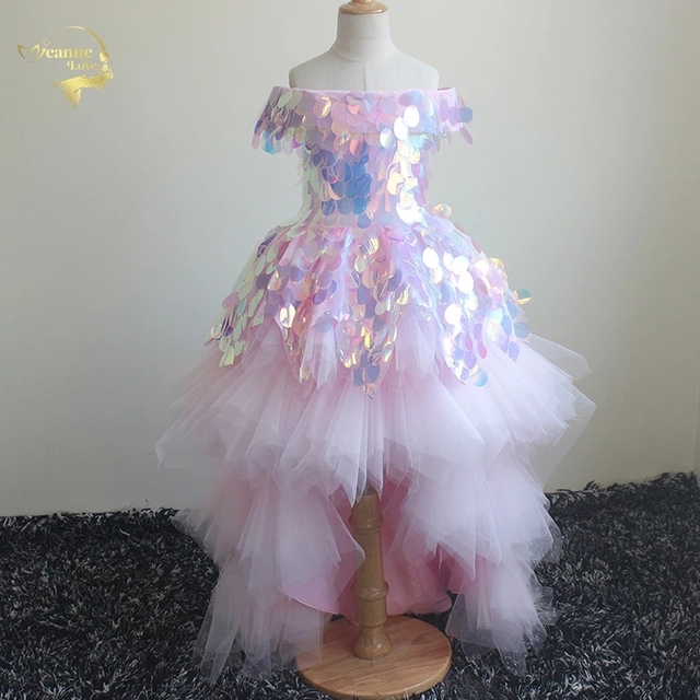 2020 Princess Girls Birthday Party Dresses Flower Girl Dress Pageant Gowns Short Front Long Back Children Prom Dress Ball Gown