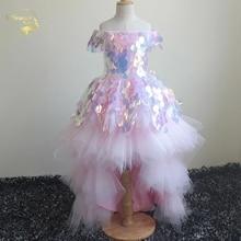 2020 נסיכת ילדה של מסיבת יום הולדת שמלות פרח שמלת ילדה תחרות שמלות קצר קדמי ארוך בחזרה ילדי נשף שמלת כדור שמלת