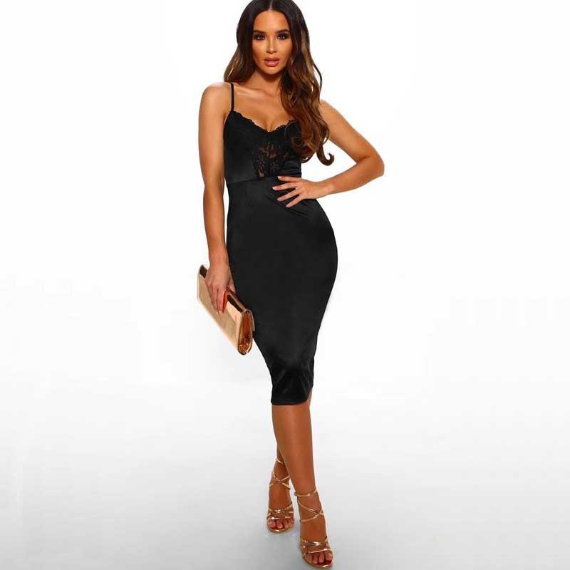 En gros 2019 date femmes robe noir rose Spaghetti sangle Sexy boîte de nuit célébrité Cocktail partie bandage robe