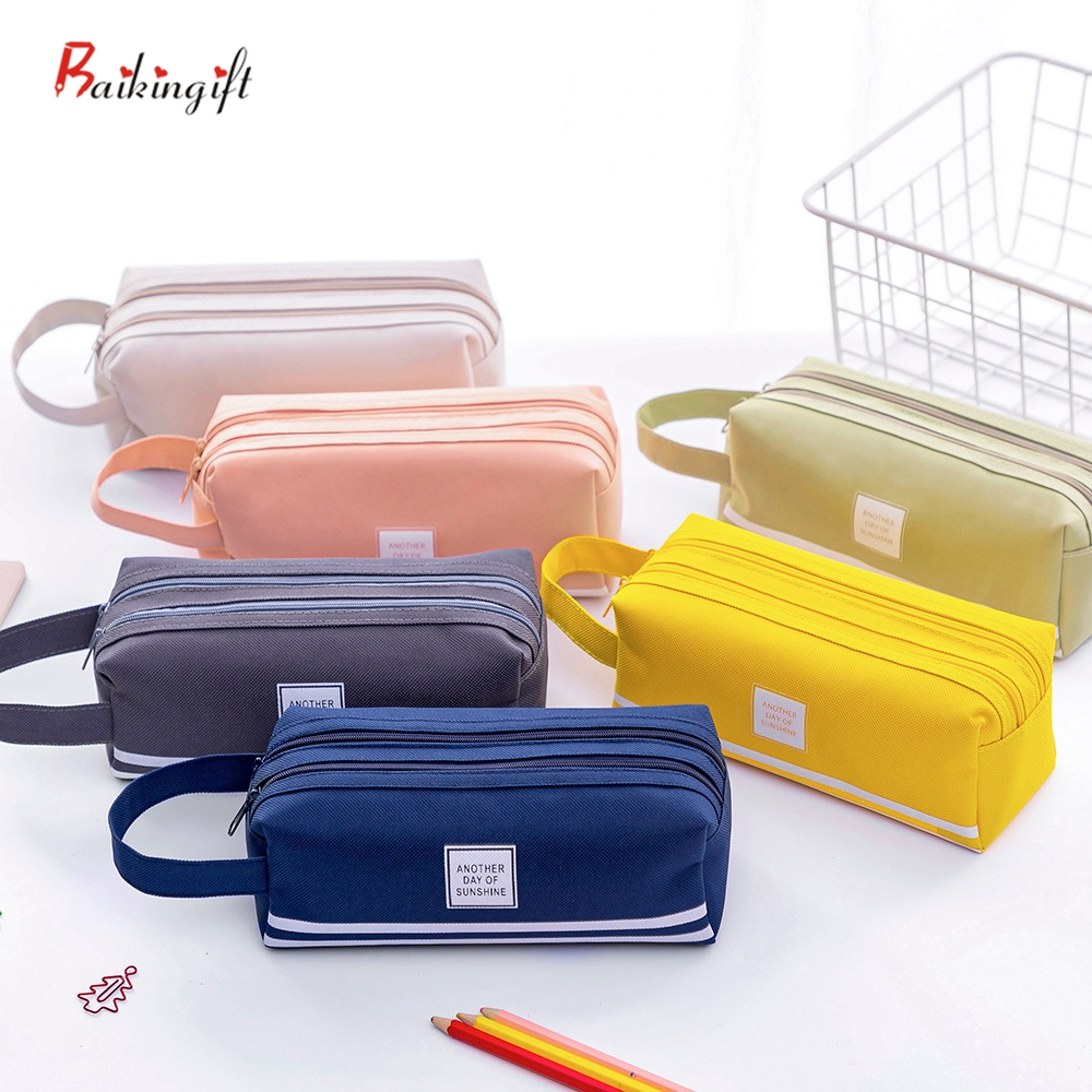 Bags Kawaii Pouch Stationary-Supplies Office Large-Capacity School Pen-Box Fabric Colorful