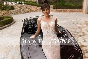 Image 2 - KEENRYAN Sexy Deep V neck Light Mermaid Wedding Dress 2020 Lace With Detachable Train Bride Gown Vestido de Noiva