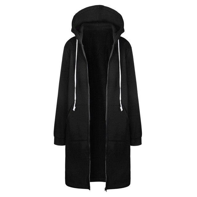 Fashion Black Coat Jacket Women Warm Long Coat Zipper Hoodies Loose Outwear Female Sweatshirt Simple Women Long Sleeve Tops #26