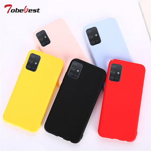 Candy Solid Color Silicone Case For Samsung Galaxy A51 A71 A81 A91 A01 A11 A21 A70E A41 A31 A21S M51 M31 5G A30 A50 A70 Cover