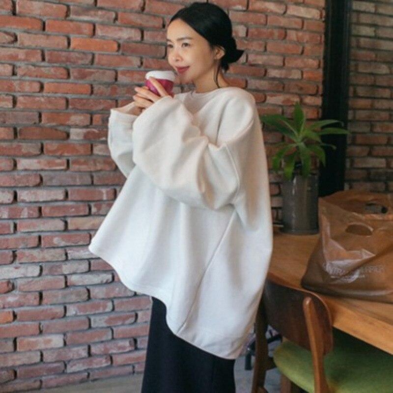 LANMREM 2020 New Spring Summer Solid Color Round Collar Pullover Sweatshirt Women Korea Loose Big Size Temperament Tops PE033