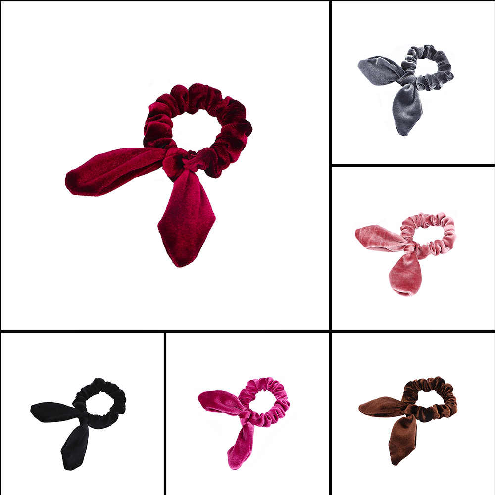 Fashion New Simple Steel Wire Rabbit Ears Flannel Hair Ring Elastic Headband Head Rope Accessories Korean Style Simple Hair Rope