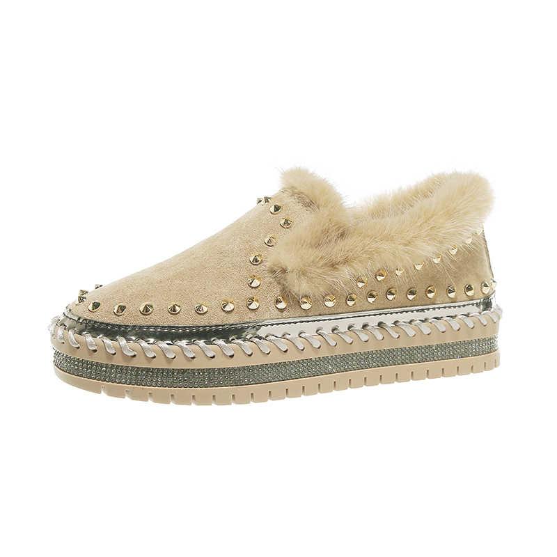 Sürüngen platform peluş ayakkabı kristal studes akın mokasen kış kürk pamuk daireler ayakkabı tasarımcısı rahat yuvarlak ayak moccasins 2019 kayma katı ayakkabı
