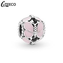 CUTEECO 2019 New Design Pink Butterfly Enamel DIY Charms Beads Fits Original Pandora Charm Bracelet For Women Jewelry