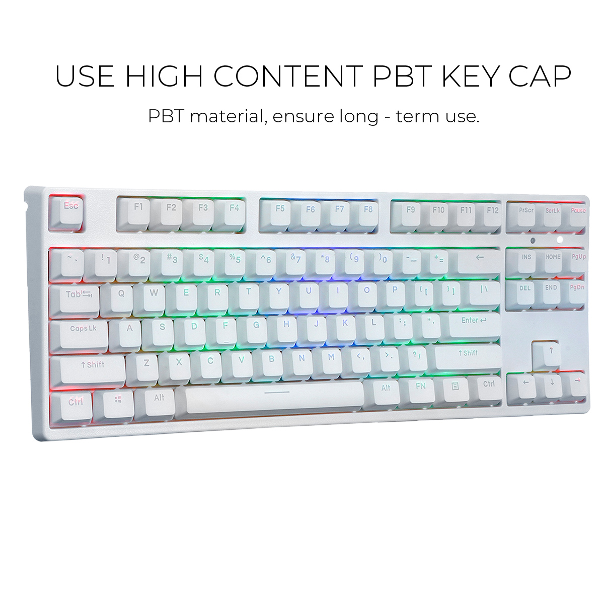 USB Wired RGB Backlit 87 Key NKRO Gateron Switch PBT Double Shot Keycaps Mechanical Gaming Keyboard for E-sport office PC Laptop image