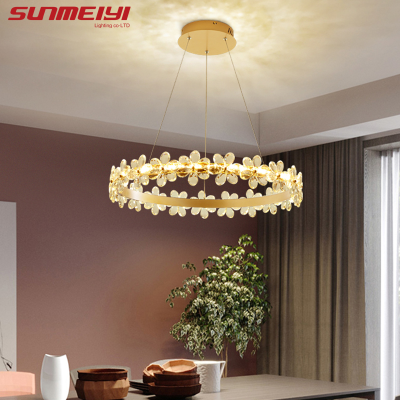 Nordic Crystal Chandeliers Lighting Brown Gold Led Lamp For Bedroom Dining Living Room Deco Ceiling Chandelier Lustre Suspension