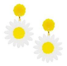 Retro Exaggerated Earrings Korean Style Elegant Ear Stud Simple Fashion White Daisy Flower Ear Stud Earrings
