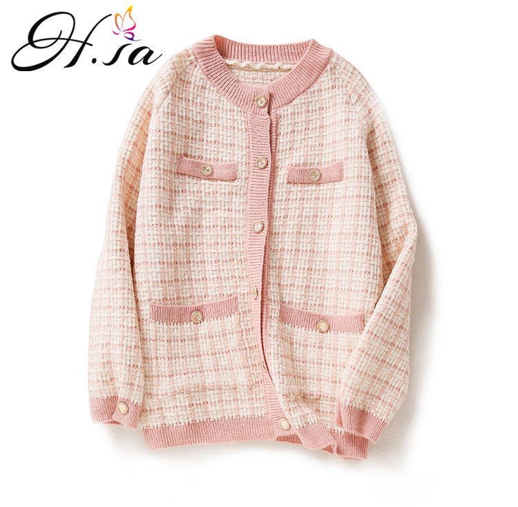 H.SA Women Elegant Sweater Cardigans Oneck Retro Vintage Knit Jackets Black White Plaid Long Cardigans Loose Tops Winter Jacket