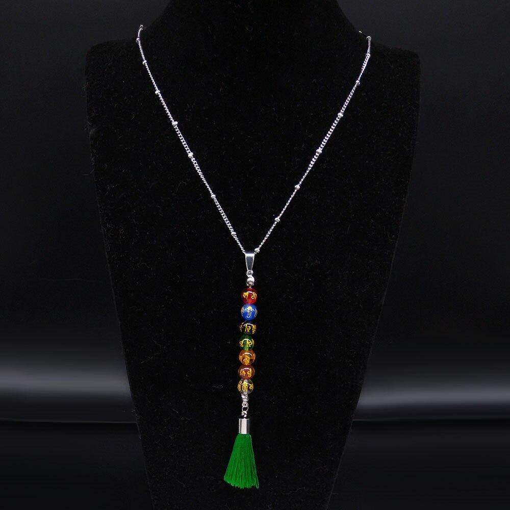 2021 Sculpture en acier inoxydable couleur verre Long gland collier femmes 7 couleur Chakra collier bijoux colgantes N20290
