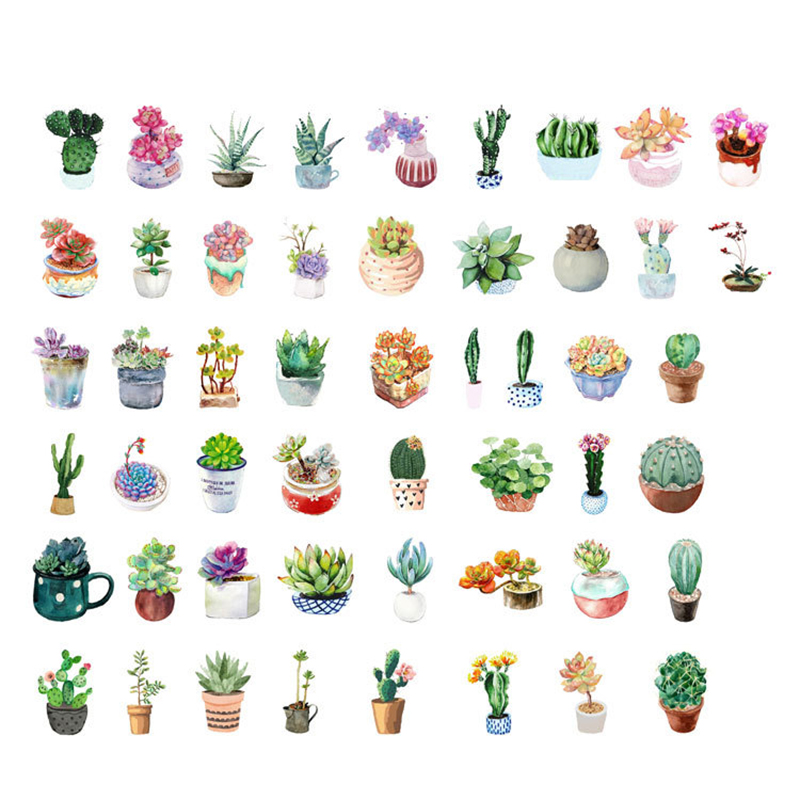 Купить с кэшбэком 45PCS/box New Cute Succulent Plants Diary Paper Lable Sealing Stickers Crafts And Scrapbooking Decorative Lifelog DIY Stationery