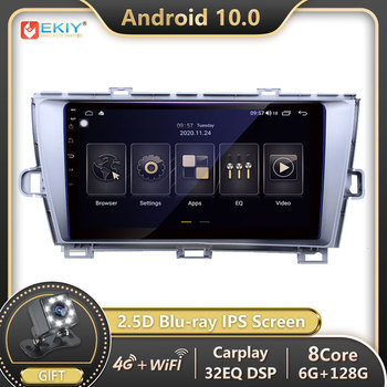 EKIY IPS DSP 2 din Autoradio Android 10 For Toyota Prius LHD RHD 2009-2013 Car Radio Multimedia Video Player Navi GPS Stereo DVD image