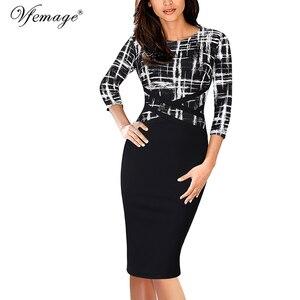 Image 2 - Vfemage vestido ajustado Vintage elegante para mujer, ropa de retazos de colores contrastantes para trabajar, fiesta de negocios, oficina, 1998