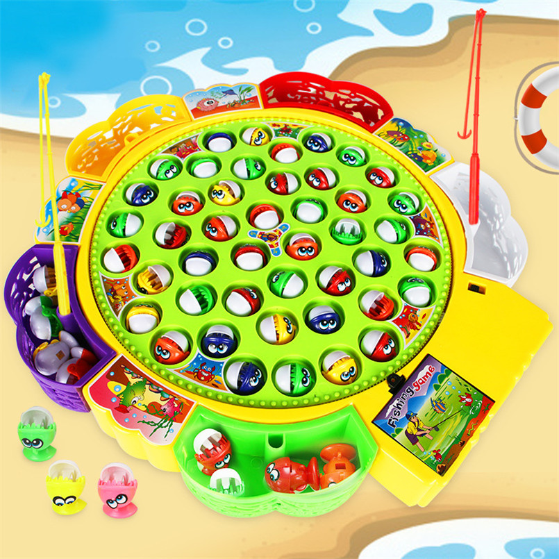 Kids Fishing Toys Electronic Rotating Magnet Fish Play Board Game Musical Plate Set Magnetic Outdoor Sports Toy For Children