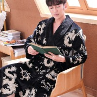 2019 New Men's Plus Large Size Dragon Bathrobe Autumn Winter Flannel Home Robe Male Kimono Soft Warm Dressing Gown