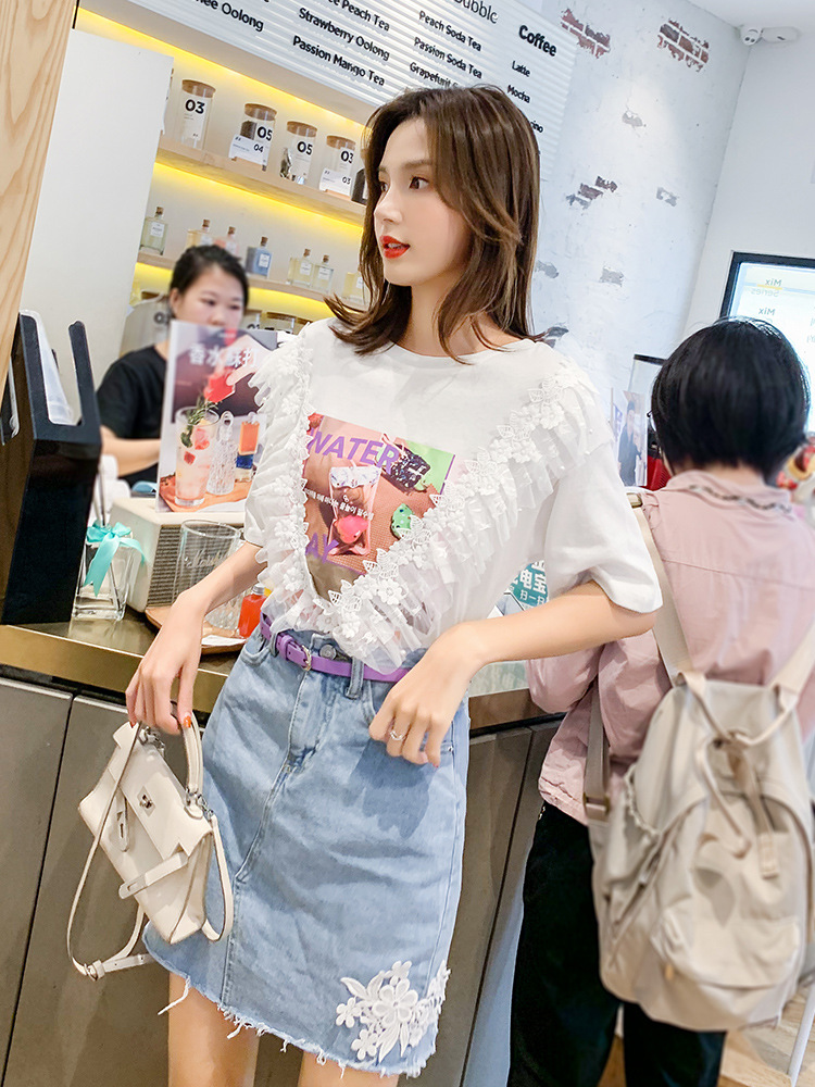 Fashion WOMEN'S Suit 2019 New Style Korean-style Denim Skirt White With Printed Pattern Immortal T-shirt Two-Piece Set