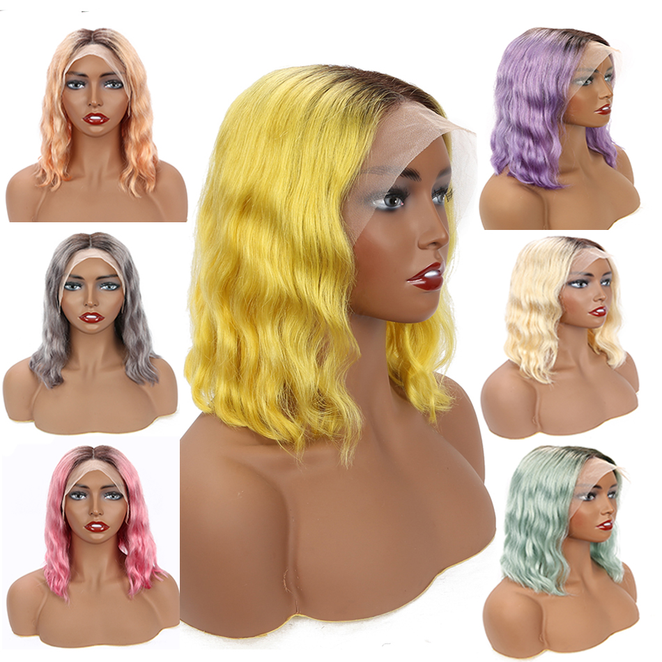 Colored Human Hair Wigs 1B 613 Remy Malaysian Body Wave Wig 13*4 Bob Lace Front Wigs Ombre Blue Gold Gray Hot Pink Neon Purple